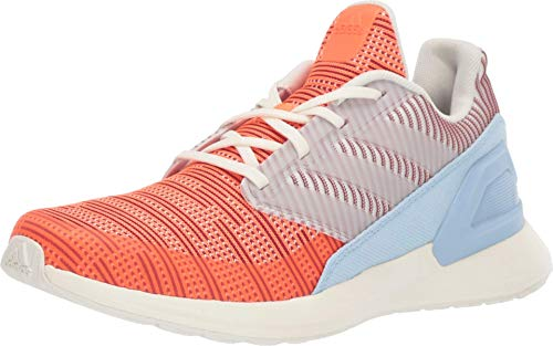 adidas Unisex-Kid's RapidaRun Knit Running Shoe, Off White/hi-res Coral/Active Maroon, 4.5 M US Big Kid