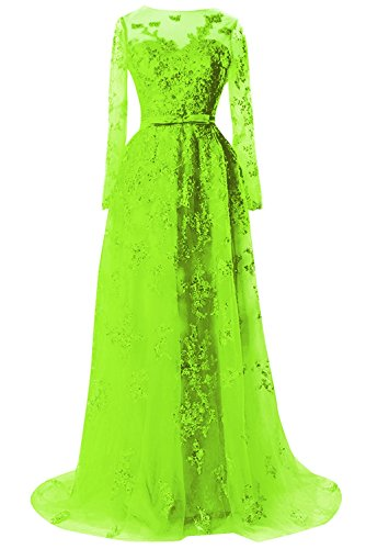 Prom Bess Lime Sleeves Women's Long Evening Lace Sheer Bridal Tulle Green Formal Dresses r8nWRr