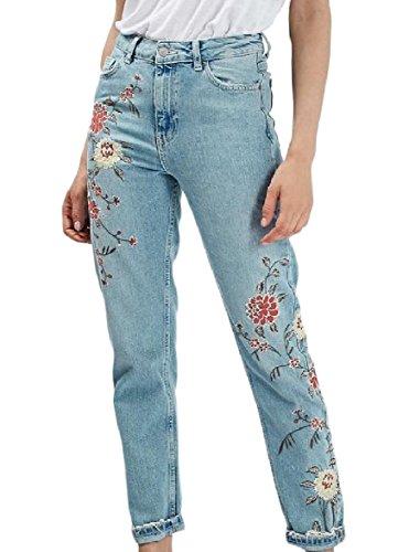 (YUSKYWomen Pocket Embroidered Fashion Denim Straight-Leg Jean Dark Blue L)