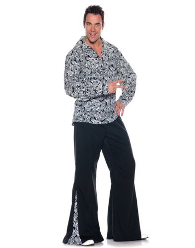 Men's Retro Hippie Costume - Funky, Black/White, XX-Large -