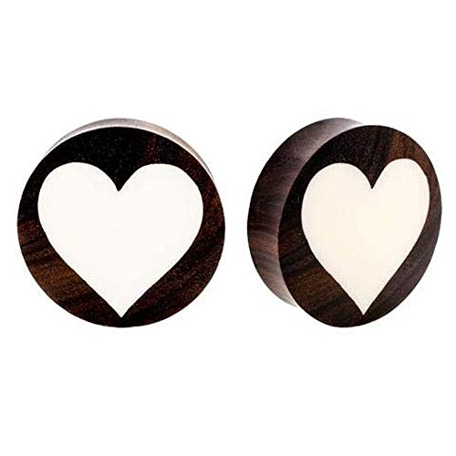 (Roots Organics Pair | Sono Wood & Bone Double Flared Heart Inlay Ear Plugs | 1 1/16