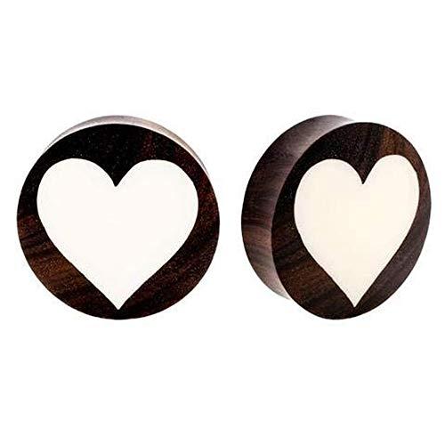 Roots Organics Pair | Sono Wood & Bone Double Flared Heart Inlay Ear Plugs | 1 1/16