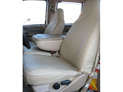 Durafit Seat Covers, Ford F250-F550 Front 40/20/40 Split Seat Covers in Tan Twill with Taupe Velour Inserts with Pointed Molded Headrests and Opening Console F238-X3-V4