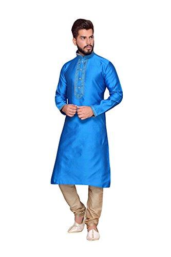 FourCorners2013 Mens Kurta Pajama Wedding Doby Dupion India Party Wear Set of 2 by FourCorners2013