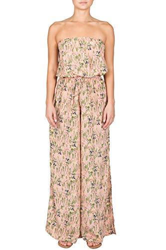 (ELAN Women's Strapless Tie-Waist Printed Jumpsuit (Blush Floral, Large))