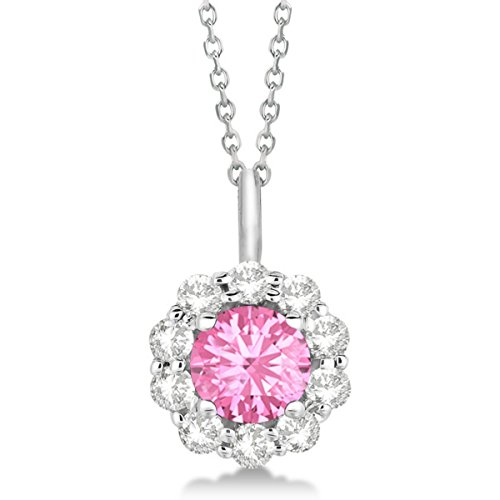 (Pink Tourmaline and Diamond Accented Pendant Necklace For Women 14K White Gold (1.69ct))