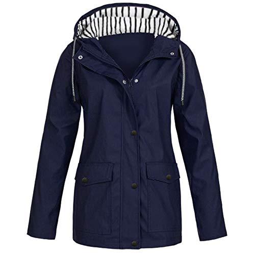 E-Scenery Women Coat Solid Rain Plus Sunscreen Outdoor Sports Hooded Raincoat Windproof Jacket Dark Blue