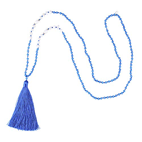 KELITCH Long Tassel Pendant Necklaces Handmade Freshwater Pearls Crystal Beaded Necklace Fashion Women Jewelry Gift (Royal Blue) -