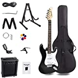 Display4top 39in Full-Size Electric Guitar Most complete Beginner Super Kit Package with 10-Watt Amp,Guitar Stand, Bag, Guitar Pick, Strap,spare Strings, Tuner, Case and Cable (Black/white)