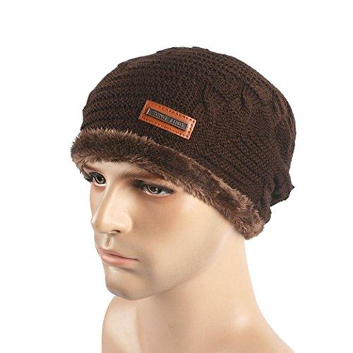 Tuscom Men Women Baggy Warm Crochet Winter Wool Knit Ski Beanie Skull (Brown Crochet)