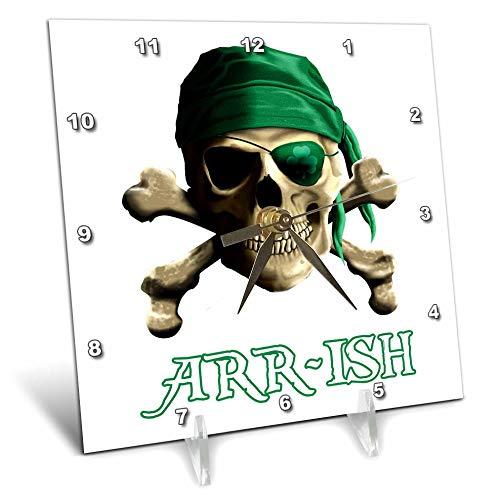 - 3dRose Macdonald Creative Studios – Nautical - Funny Irish Jolly Roger Joke Arrish Instead of Irish. - 6x6 Desk Clock (dc_299231_1)