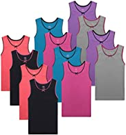 Buyless Fashion Girls Tagless Cami Scoop Neck Undershirts Cotton Tank with Trim and Strap (12 Pack)