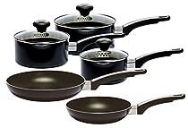 Prestige Everyday Straining Cookware Set, Aluminium, Black, Pack Of 5