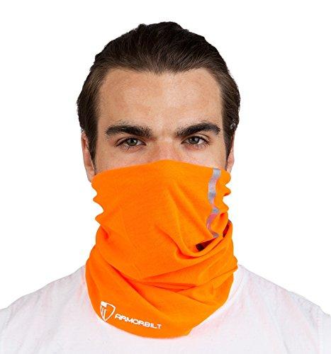 Armorbilt High Visibility Reflective Safety Face Clothing - Neck Gaiter, Bandana Dust Mask, Sun Shade Shield, Multifunctional Headwear (Orange) (1)