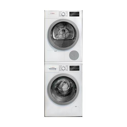 500 Series White Front Load Compact Stacked Laundry Pair with WAT28401UC 24 Washer WTG86401UC 24 Electric Condensation Dryer and WTZ20410 Stacking Kit ()
