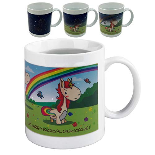 (Color Changing, Heat Sensitive Unicorn Mug for Coffee Tea or Milk, Little Pony Changes into Unicorn, Funny Unicorn Gifts for Boys, Girls, Kids, Ladies, or Any Unicorn)
