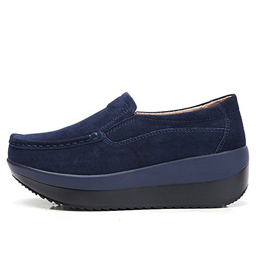 On Dark Platform Loafers Slip Moccasins Blue HKR Comfort Shoes Sneakers Driving Suede Women qfUtnwA