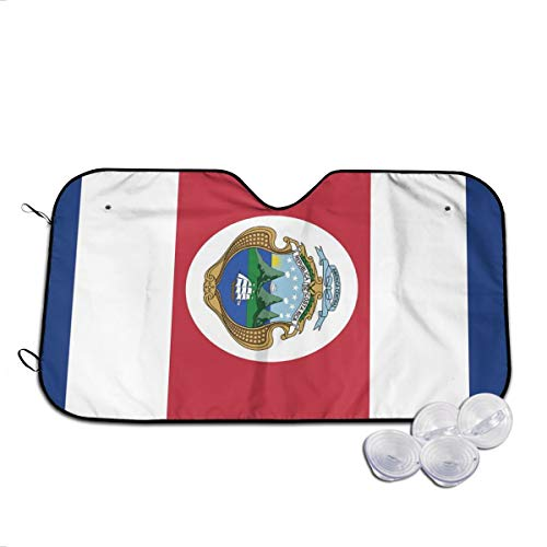 CHILL TEK Costa Rica Flag Universal Durable Windshield Sunshade for Any Vehicle Foldable Size 51.2x27.6/55.1x29.9 in