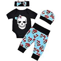 FUNIC Babys Clothes Set, Newborn Baby Boys Girls Flower Skull Romper Jumpsuit+Pants+Cap+Headband 4Pcs Set (3 Months, Black)