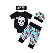 FUNIC Babys Clothes Set, Newborn Baby Boys Girls Flower Skull Romper Jumpsuit+Pants+Cap+Headband 4Pcs Set (6 Months, Black)