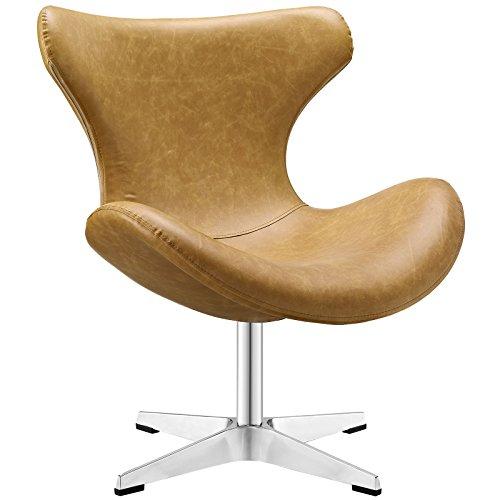 Modway Helm Vinyl Lounge Chair, Twin, Tan (Swivel Lounge Chair)
