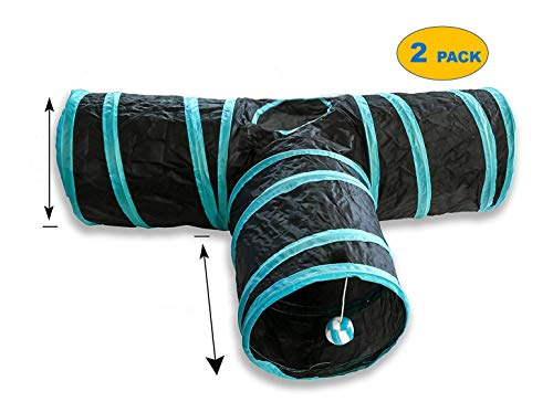 AroPaw Cat Toys 2 Pack Interactive Cat Tunnel 3 Way Cat Tube for Interactive Fun Activity- Double Layered Crinkly Lined Tunnels with Dangling Ball- Small to Medium Sized Cats