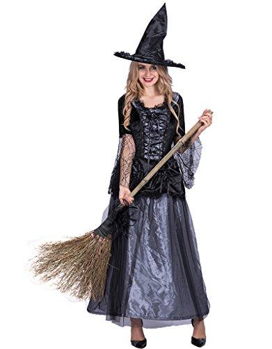 EraSpooky Women's Renaissance Spider Witch Halloween Costume(Black, Medium) ()