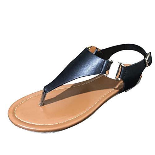 Women's Roman Trendy Simple Faux Leather Bold Buckles Thong Flat Sandals, MmNote Comfortable Adjustable Black