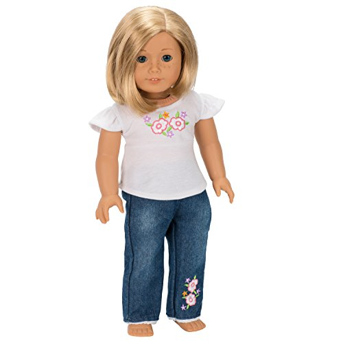 Dress Along Dolly  Flower Jeans and Shirt for American Dolls