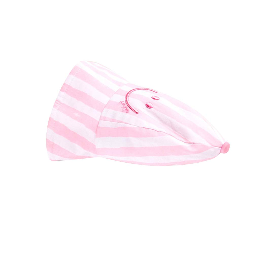 IMLECK Toddler Baby Girl Smile Stripe Breathable Cotton Sun Hat