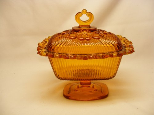Amber Indiana Glass (Vintage Indiana Glass Amber Glass Lace Edge Covered Rectangular Pedestal Candy Dish Serving Piece with Finial on Lid)