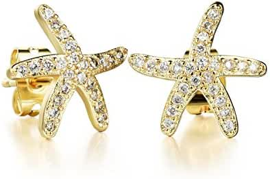 Tidoo Jewelry 18k Yellow Gold Plated Starfish Crystals Studs Earring