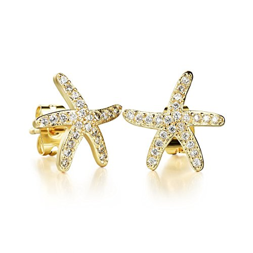 Gold Starfish Earrings (Tidoo Jewelry 18k Yellow Gold Plated Starfish Crystals Studs Earring)
