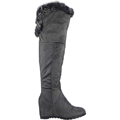 Damen Keil Zu Ende Das Knie Hoch Faux Pelz Velours Mitte Hacke Stiefel Größe 36-41 Grau