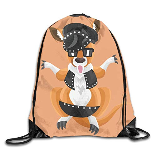 (Uangdglu Drawstring Bag Kangaroo In A Studded Outfit On Peach Background Rucksack Color-08)