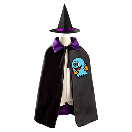 Blue Ghost Emoji Halloween Cape and Matching Witch Hat for Kids purple