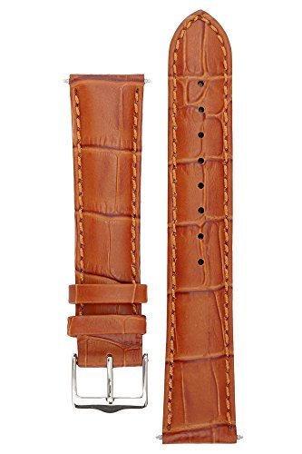 Signature Senator in gold 20 mm watch band. Replacement watch strap. Genuine Leather. Steel buckle. Limited time SALE - Warranty Limited Band