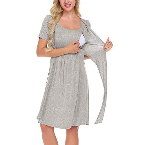 (Creazrise Women's Maternity Dress for Nursing Baby Shower Nightgown Solid Color Breastfeeding Sleepwear Gray)