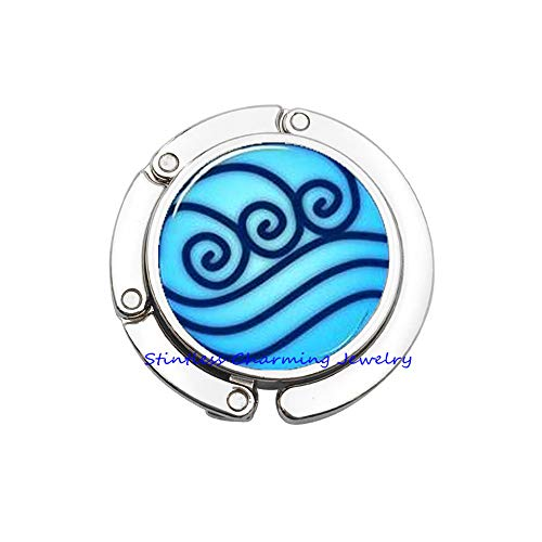 Tribe Silver 30mm - Water Tribe Glass Bag Hook,Water Tribe Purse Hook,Gift Jewelry,Glass Dome Bag Hook-JP176 (C1)