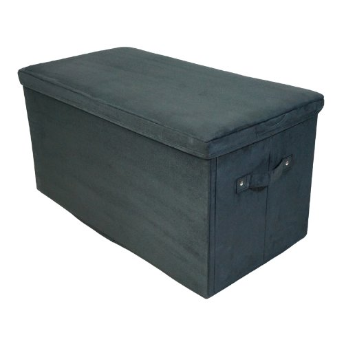 Folding Foyer Bench : Casual home folding storage bench microsuede black