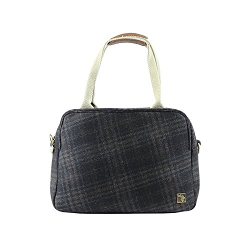 Tweed Tote Day Bag Dark Grey Check 0wPS8Hwxq