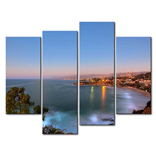 So Crazy Art 4 Panel Wall Art Painting Laguna Beach California Prints On Canvas The Picture City Pictures Oil For Home Modern Decoration Print Decor For Living Room by So Crazy Art