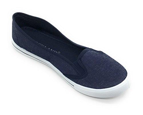 Blue Berry Easy21 Femmes Toile Bout Rond Slip Sur La Mode Baskets Sneaker