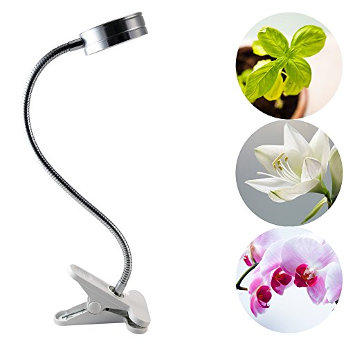 LEDdrop Grow Light, 7W Full Spectrum LED Clip On Desktop Grow Lamp Clamp Flexible Gooseneck for Garden Greenhouse and Hydroponic with 3W LED Chips