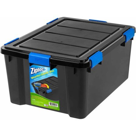 Ziploc Black WeatherShield Storage Box, Large (2) WSB-LD BLK/BLK/BLU
