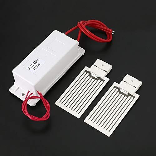 Libertroy 220 V 7 g//h Mini Generador de ozono Fuente de alimentaci/ón Placa de cer/ámica Air Ozonizer Machine Kit con Doble Placa de ozono Hojas Blanco Blanco