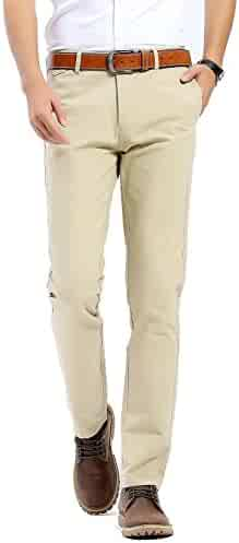 4bfedf425570 FLY HAWK Mens Slim Fit Flat Front Casual Twill Pants 100% Cotton Work  Tapered Pants