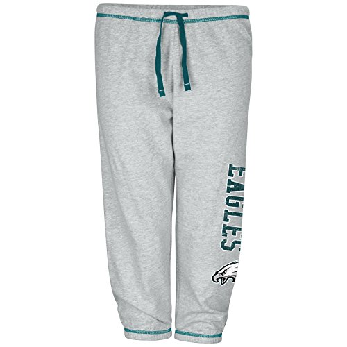 NFL Philadelphia Eagles Women Lt Weight Fleece Pant W/Topstitch Trim Outside Ds W/M Logo Down Leg, Heathergrey, 1X (Philadelphia Eagles Nfl Fleece)