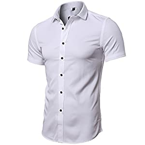 FLY HAWK Men No Iron Slim Fit Dress Shirts Bamboo Fiber Short Sleeve Elastic Casual Shirt
