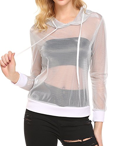- Up Beauty Women's Sexy Sheer Mesh Fishnet Net Long Sleeve T-Shirt Crop Top
